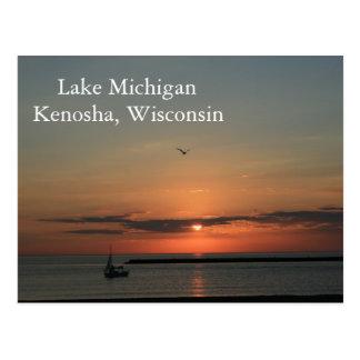 Lake Michigan, Kenosha Wisconsin Postcard