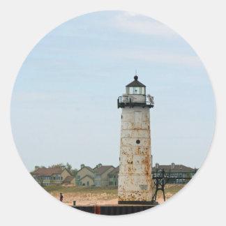 Lake Michigan Lighthouse Classic Round Sticker
