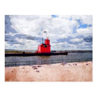 Lake Michigan Lighthouse Postcard
