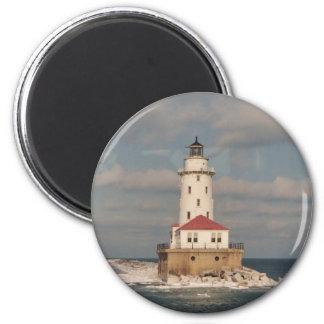 Lake Michigan Lighthouse Round Magnet