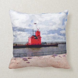 Lake Michigan Lighthouse Throw Pillow