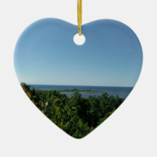 Lake Michigan Double-Sided Heart Ceramic Christmas Ornament