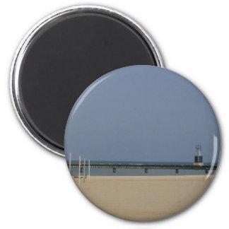 Lake Michigan Shores Beacon Light 2 Inch Round Magnet