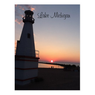 Lake Michigan Sunset Lighthouse Postcard