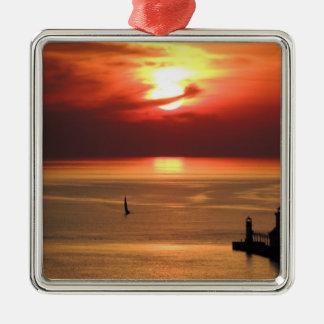 Lake Michigan Sunset Square Metal Christmas Ornament