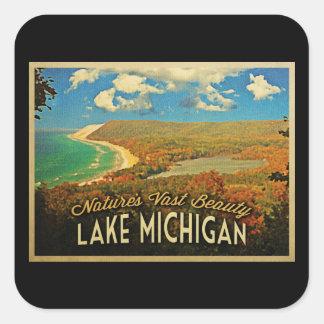 Lake Michigan Vintage Square Sticker