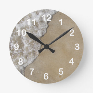 Lake Michigan Wave on Sand Beach Round Clock