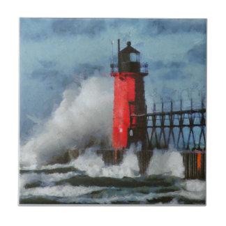 Lake Michigan Waves and Lighthouse Ceramic Tile