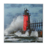 Lake Michigan Waves and Lighthouse Tiles
