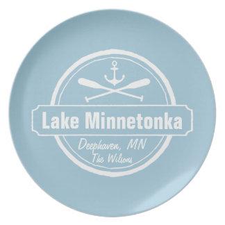 Lake Minnetonka Minnesota anchor town and name Melamine Plate