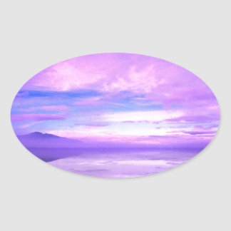 Lake Mirrored Serenity Hood Canal Seabeck Oval Sticker