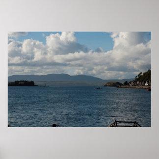 Lake mountain clouds poster