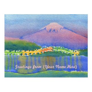 Lake Mt Fuji Night Bridge Reflections Watercolor Postcard