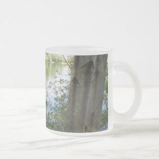 lake, mug, stein, trees, water frosted glass coffee mug