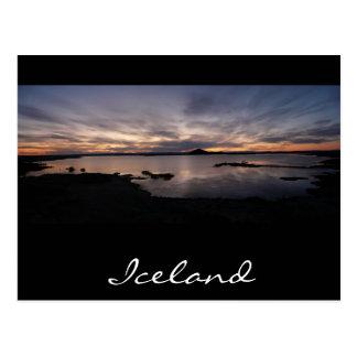 Lake Myvatn black sunset in iceland postcard
