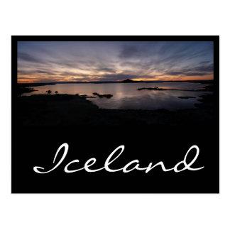 Lake Myvatn black sunset in iceland text postcard