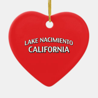Lake Nacimiento California Double-Sided Heart Ceramic Christmas Ornament