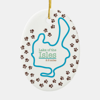 Lake of the Isles with Dog Paw Prints Ceramic Ornament