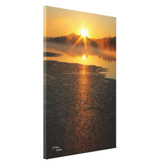 Lake orange sunrise Stretched Canvas Print