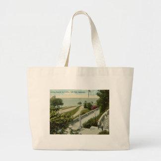 Lake Park, Milwaukee Vintage Large Tote Bag