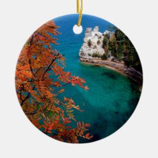 Lake Pictured Rocks Shore Superior Michigan Ceramic Ornament