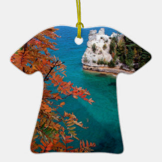 Lake Pictured Rocks Shore Superior Michigan Double-Sided T-Shirt Ceramic Christmas Ornament