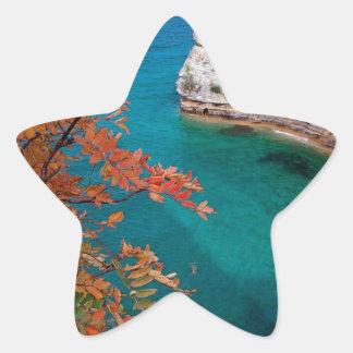 Lake Pictured Rocks Shore Superior Michigan Star Sticker