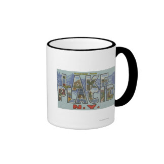 Lake Placid, New York - Large Letter Scenes Coffee Mugs