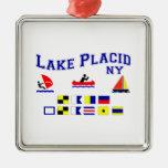 Lake Placid NY Signal Flags Square Metal Christmas Ornament