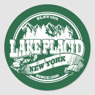 Lake Placid Old Circle Green Classic Round Sticker