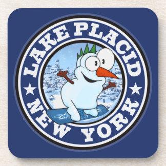 Lake Placid Snowman Circle Beverage Coasters