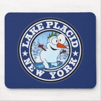 Lake Placid Snowman Circle Mouse Pad