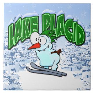 Lake Placid Snowman Tile