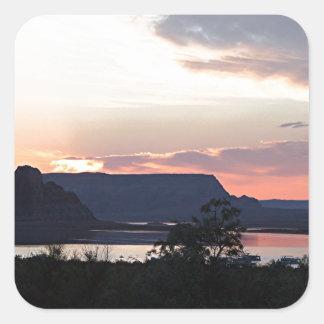 Lake Powell at sunset, Arizona, USA Square Sticker