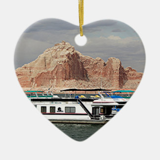 Lake Powell Houseboat, Arizona, USA 3 Double-Sided Heart Ceramic Christmas Ornament