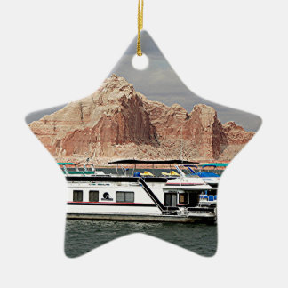 Lake Powell Houseboat, Arizona, USA 3 Double-Sided Star Ceramic Christmas Ornament