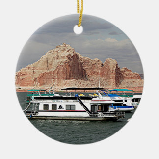 Lake Powell Houseboat, Arizona, USA 3 Double-Sided Ceramic Round Christmas Ornament