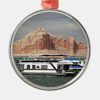 Lake Powell Houseboat, Arizona, USA 3 Round Metal Christmas Ornament