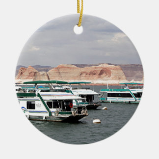 Lake Powell Houseboat, Arizona, USA 4 Double-Sided Ceramic Round Christmas Ornament