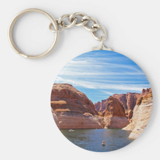 Lake Powell Page Arizona Water Reservoir Landscape Basic Round Button Keychain