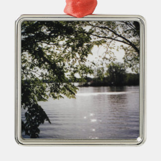 lake reflections square metal christmas ornament