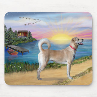 Lake Road - Yellow Labrador Retriever Mouse Pad