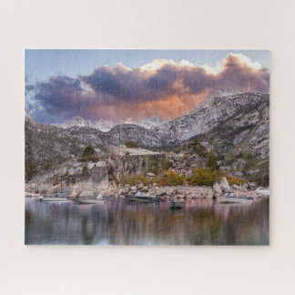 Lake Sabrina Dusk with Boats Jigsaw Puzzle