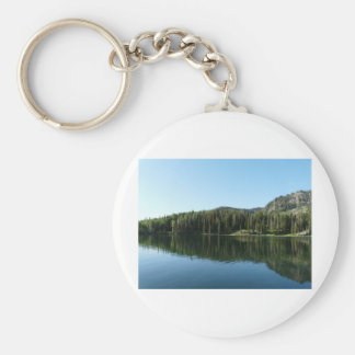lake scene basic round button keychain