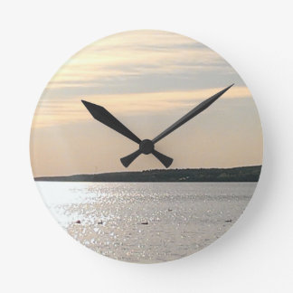 Lake scene round clock