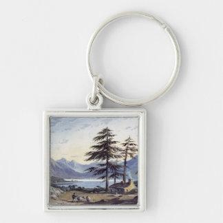 Lake Scene Silver-Colored Square Keychain