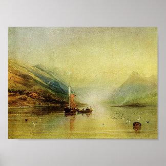 Lake Scene Watercolor Painting Fine Art Print! Poster