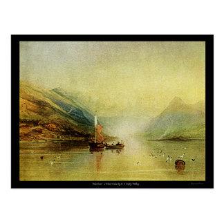 Lake Scene Watercolor Painting Vintage Postcard! Postcard