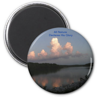 Lake Scene With Scripture 2 Inch Round Magnet