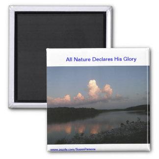 Lake Scene With Scripture 2 Inch Square Magnet